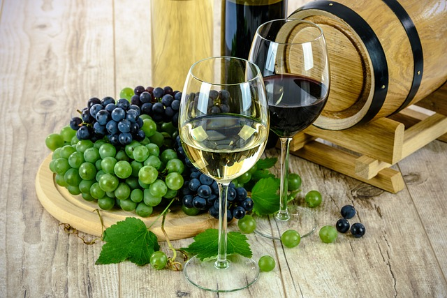 sklenice s vínem a hrozny